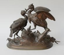 Cast bronze figural group of two herons