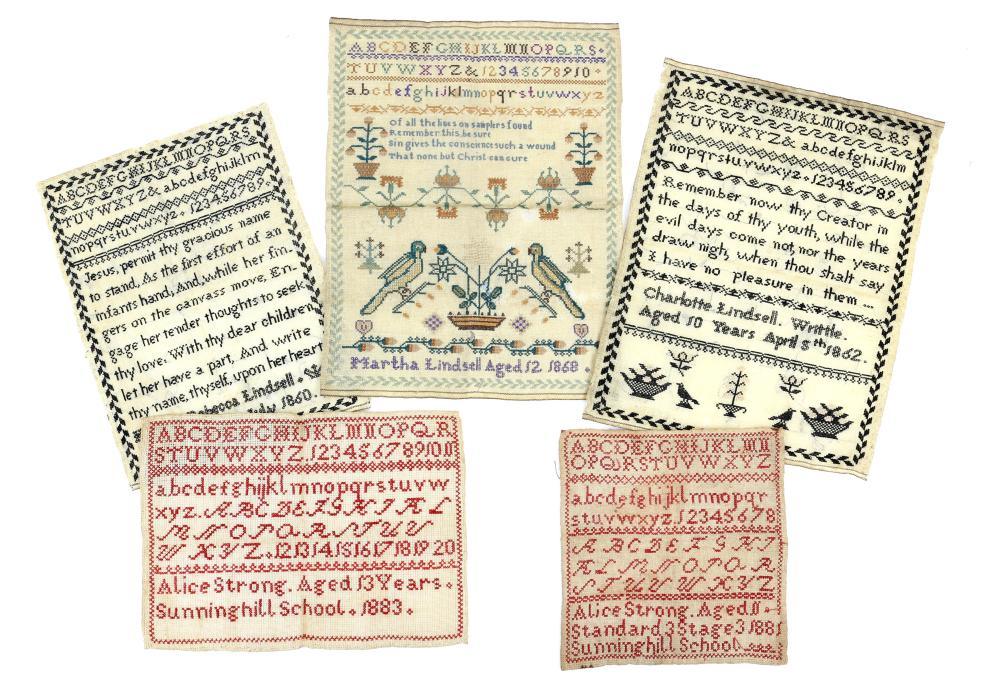 19th Century Alphabet Sampler worked by Alice Stro