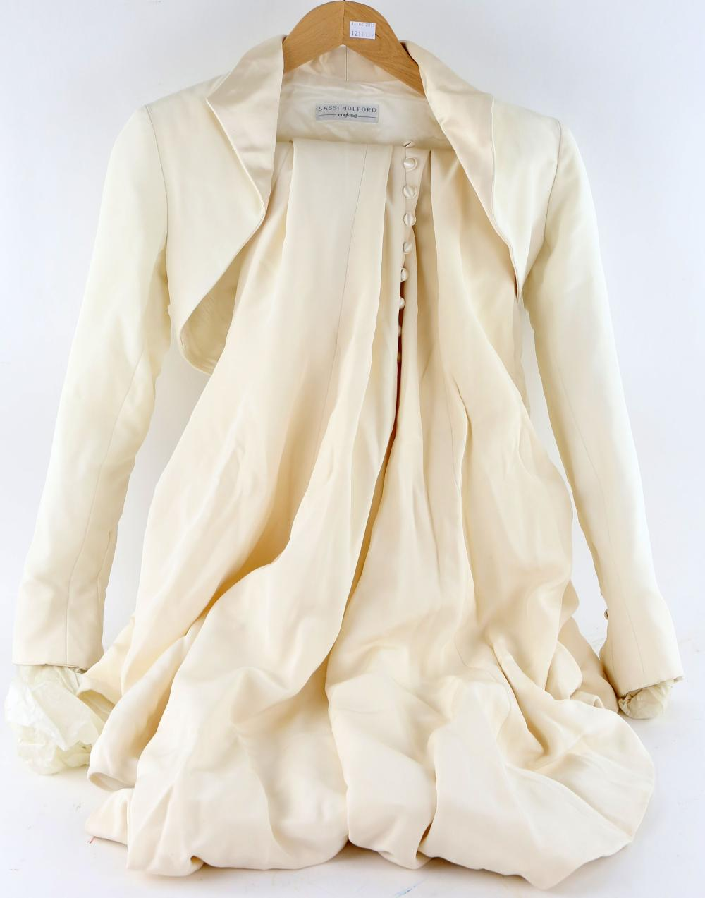 Sassi Holford cream silk gown and bolero jacket