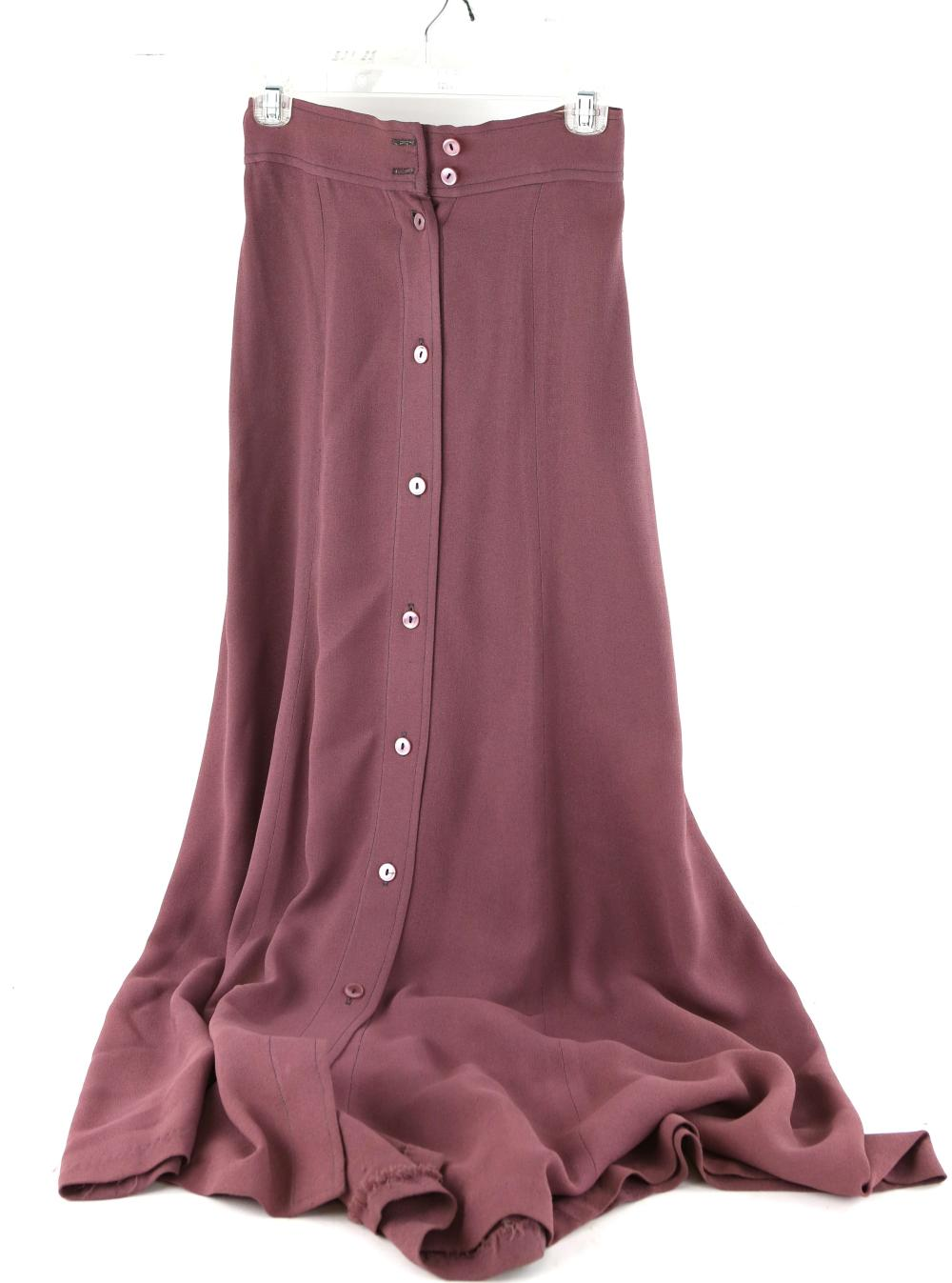 Ozzie Clark crepe long skirt in dusty pink and oth