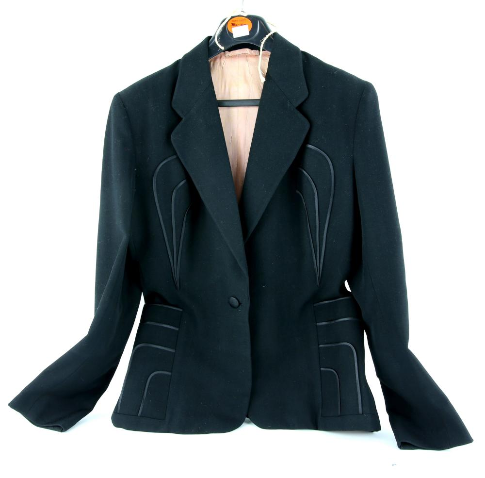 1940s black ladies suit jacket with applied detail