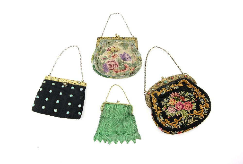 1920s/30s evening bags comprising green chain link