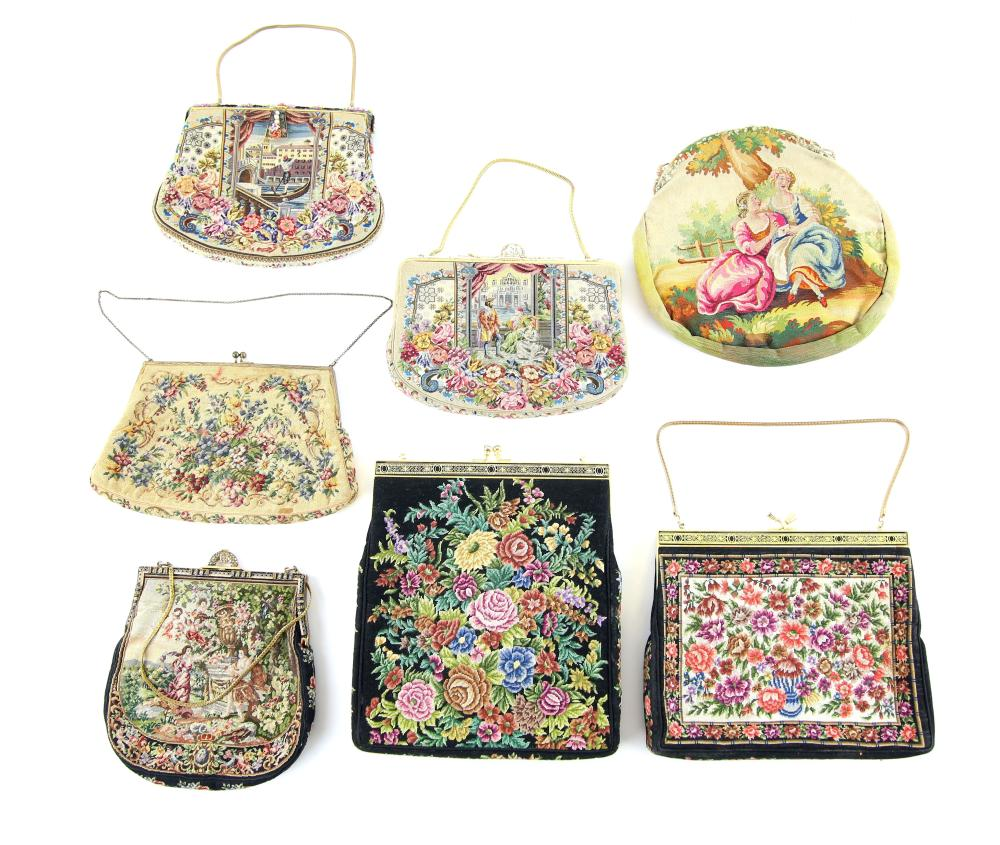 Group of antique and two later evening bags, four