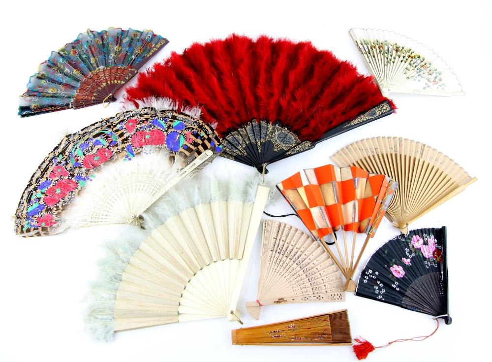 Large collection of fans, approx 60 to include two