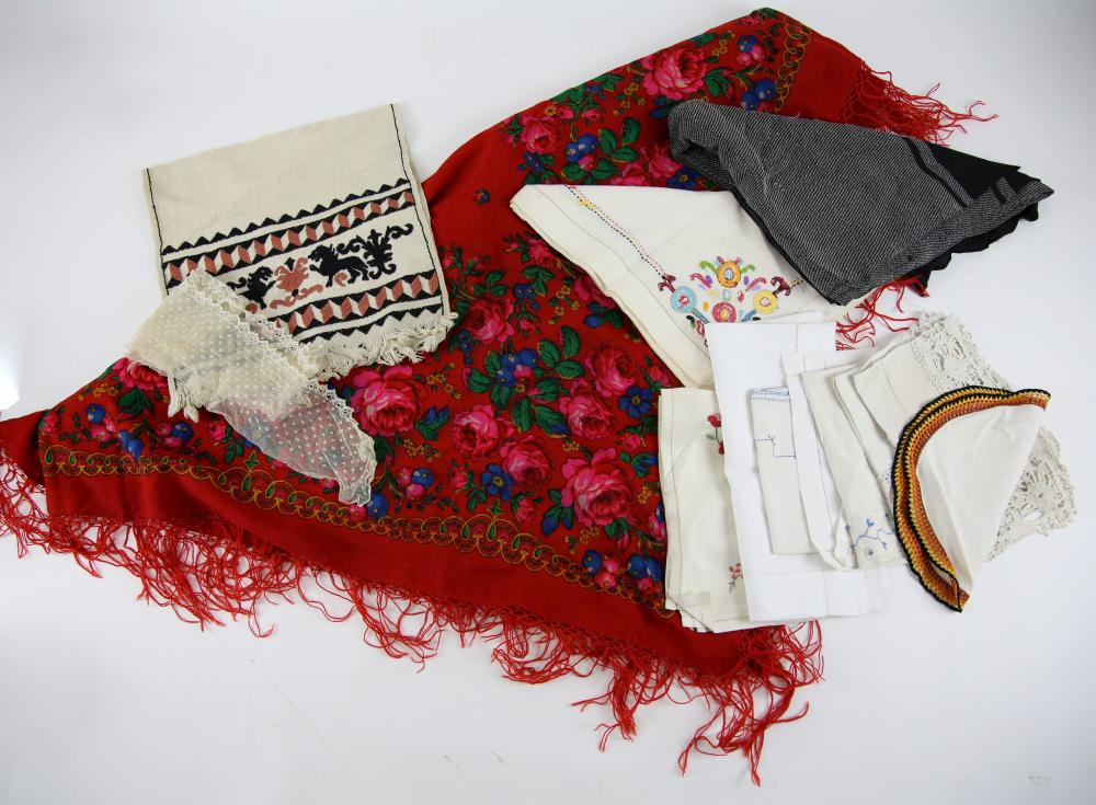 Red ground shawl with floral print and a quantity