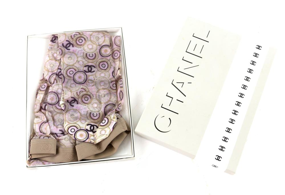 Two pairs of unworn Chanel tights in original boxe