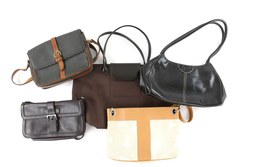 A collection of five handbags , including examples