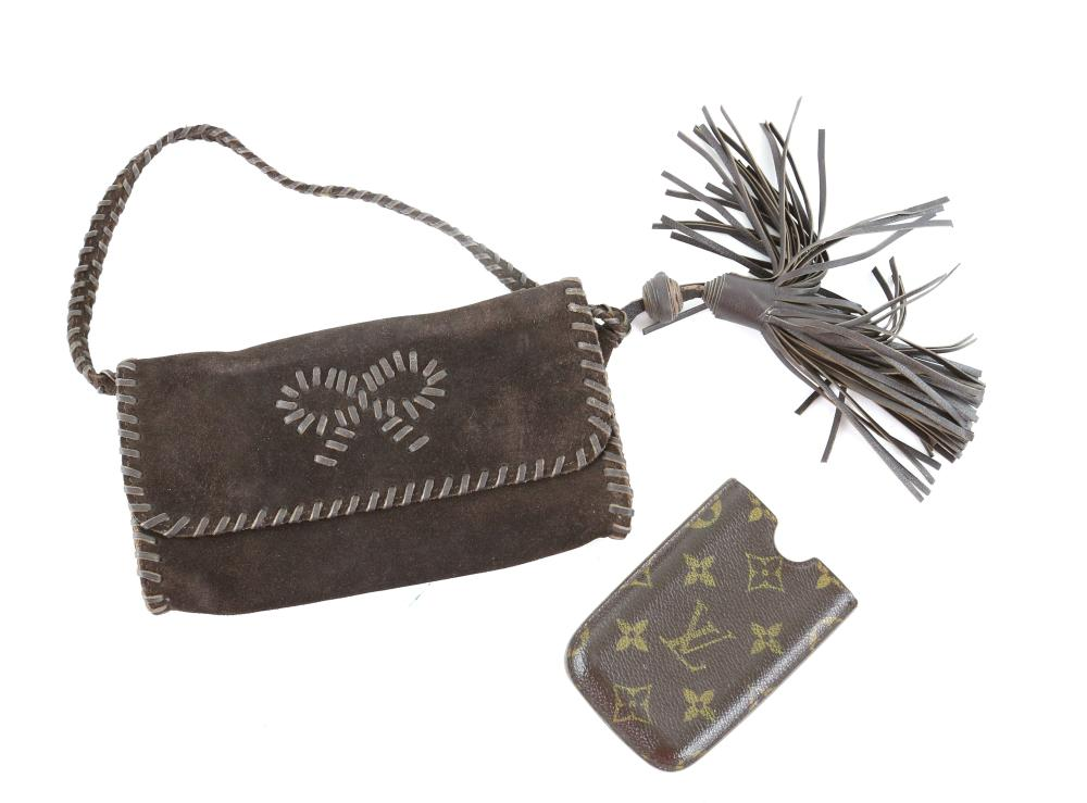 Anya Hindmarch brown suede clutch bag and Louis Vu