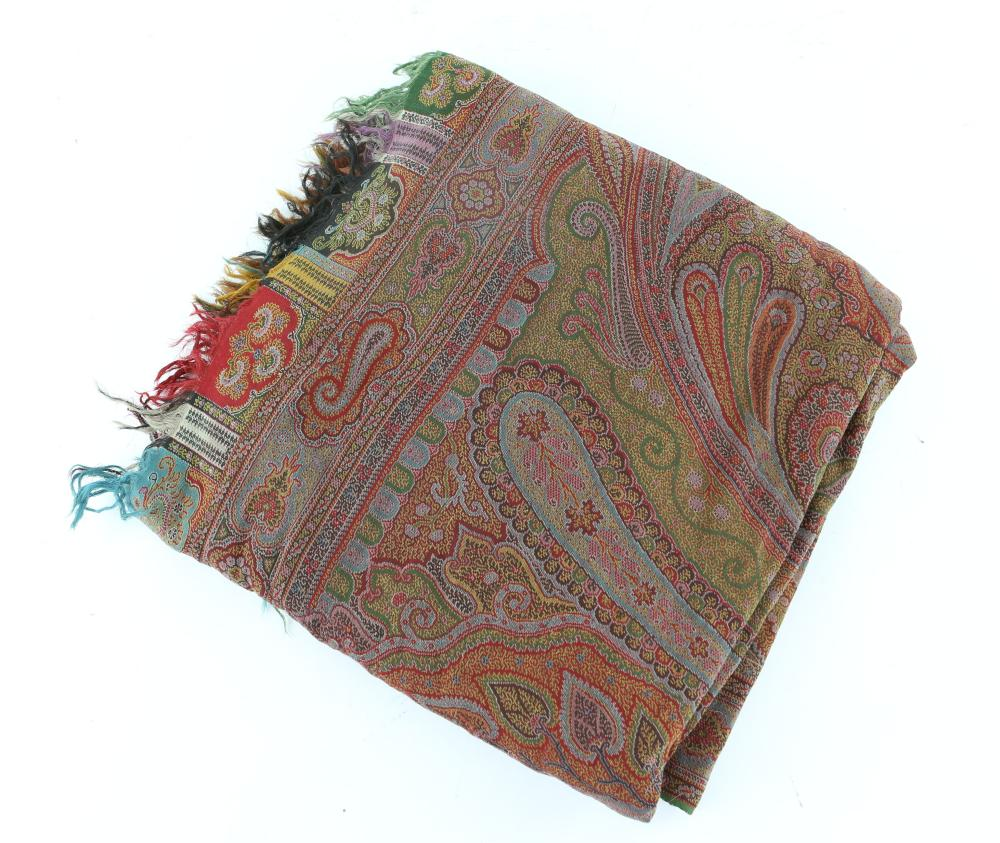 Victorian paisley Shawl in red, green gold and mau