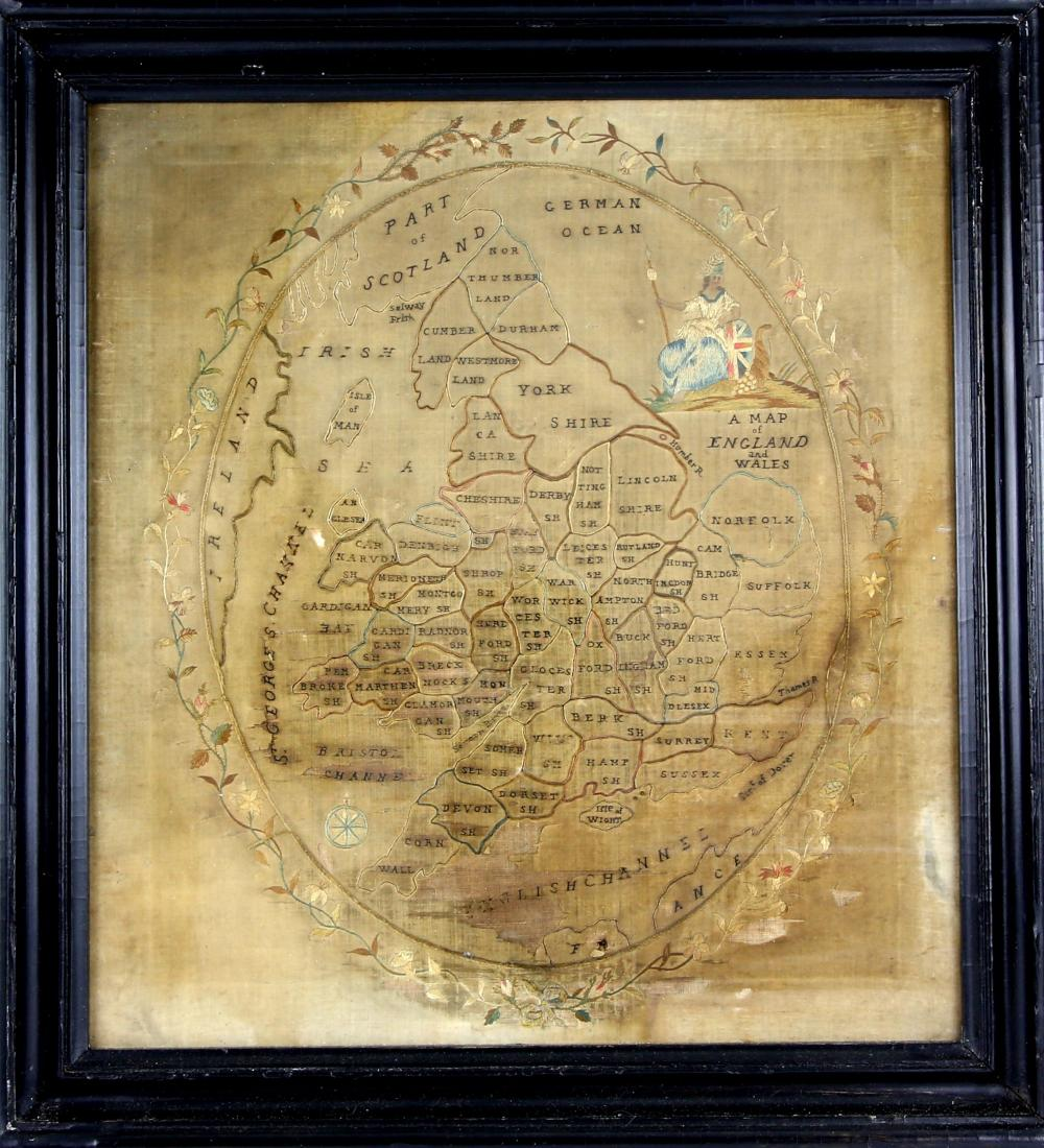 A 19th century needlework depicting a Map of Engla