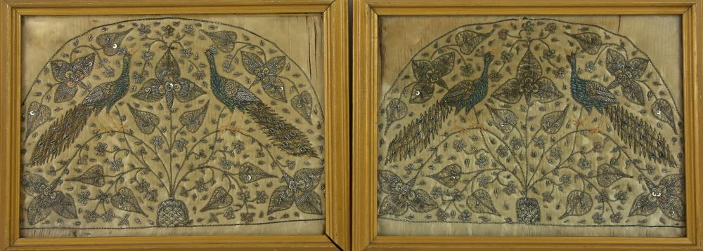 Pair of embroidered panels of  Peacocks intricatel