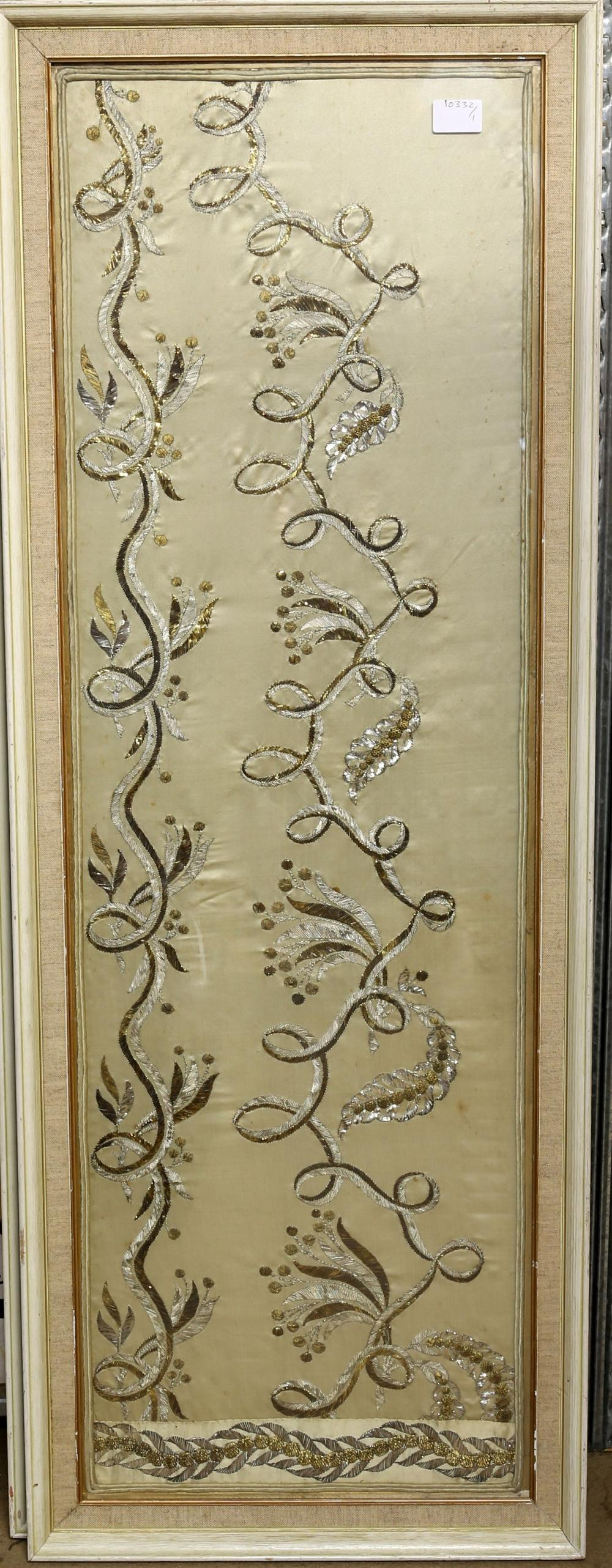 A pair of silk panels, possibly skirt panels, styl