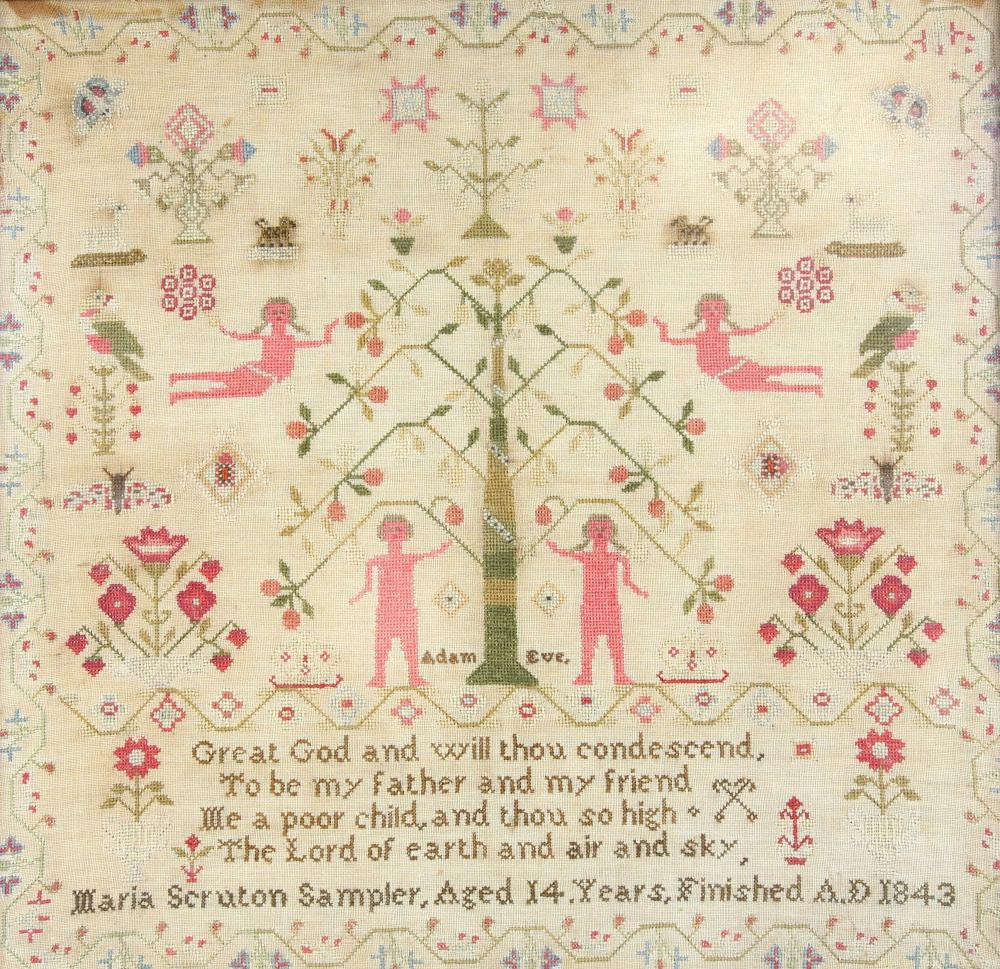 A Victorian Adam and Eve sampler, with Adam and Ev