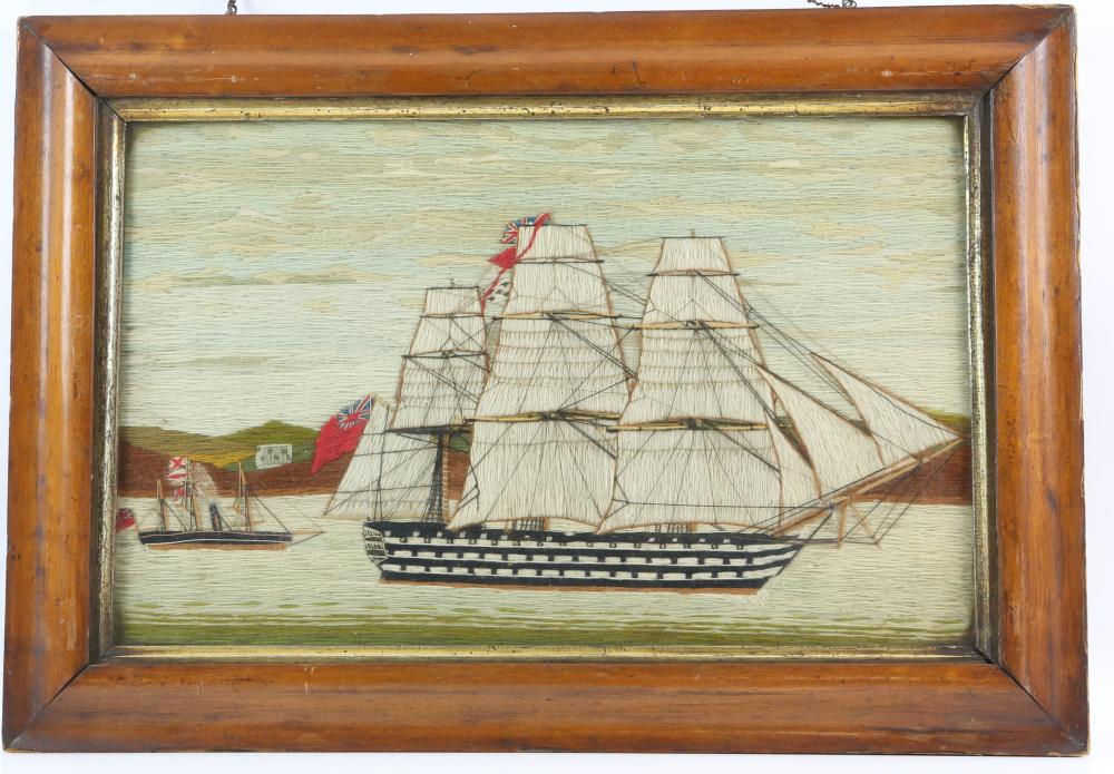 Victorian wool work picture of a British warship b