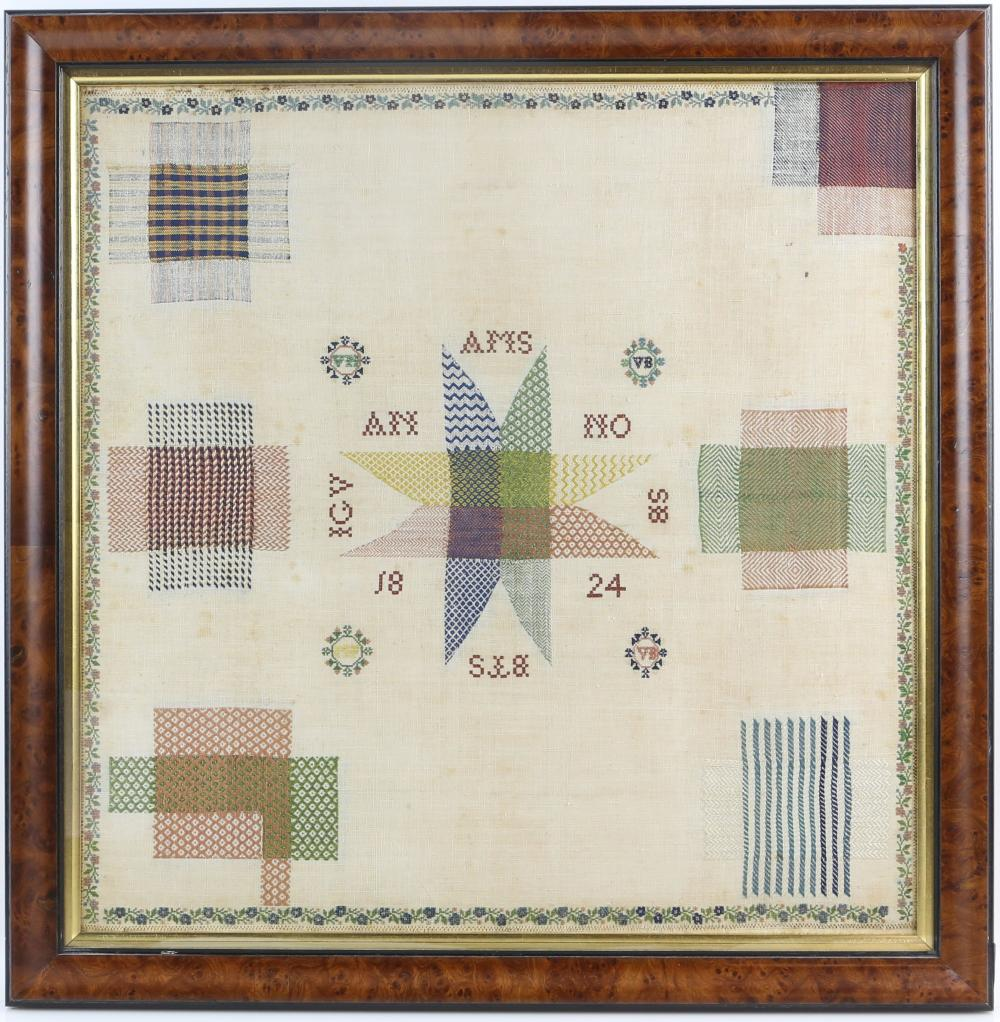 A 19th Century Darning Sampler with Star motif to