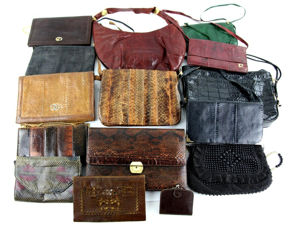 Collection of Snake skin and other handbags togeth