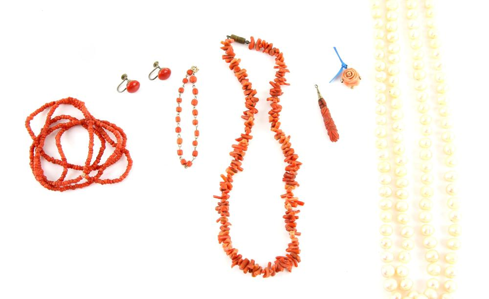 Two coral necklaces, other items of coral and an o