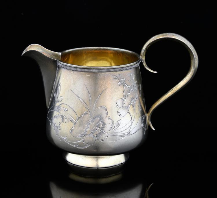 Line Art Jug : Early th century russian silver cream jug line engraved w