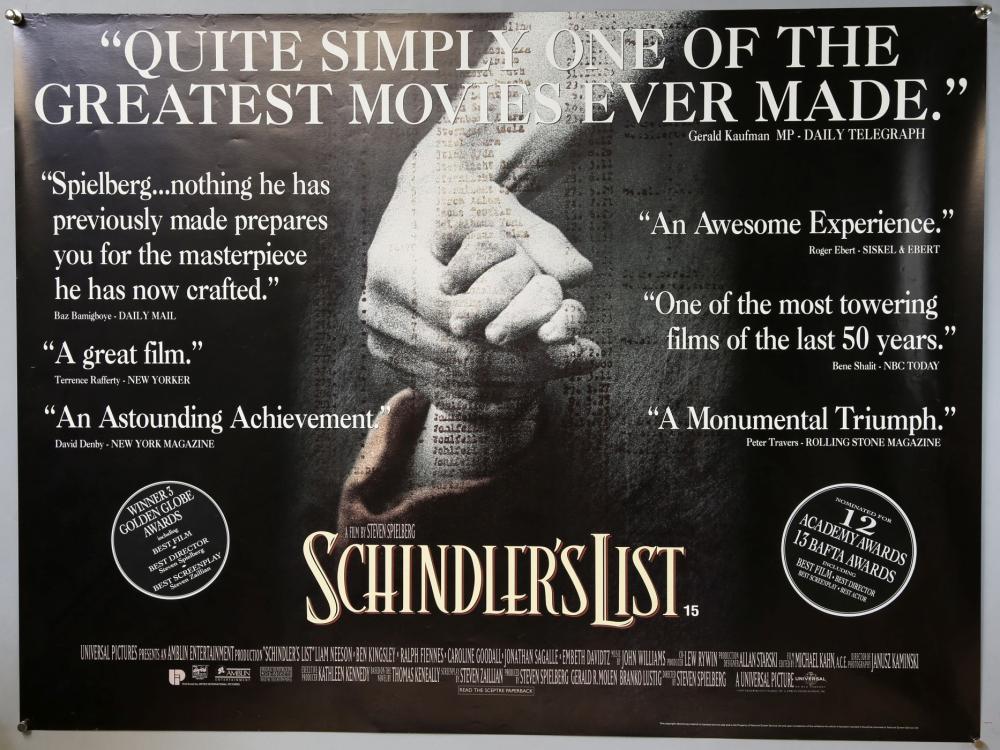 50 British Quad film posters, Schindler's List, Go