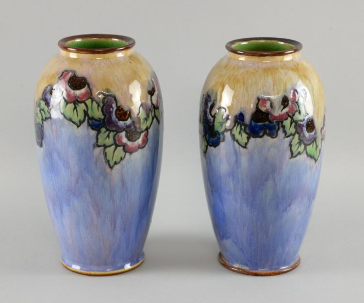 A Pair Of Royal Doulton Vases By Ada Tosen And Maud Bowden