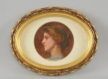 Reginald E Arnold oil sketch on paper head study of artist's wife 10cm diameter