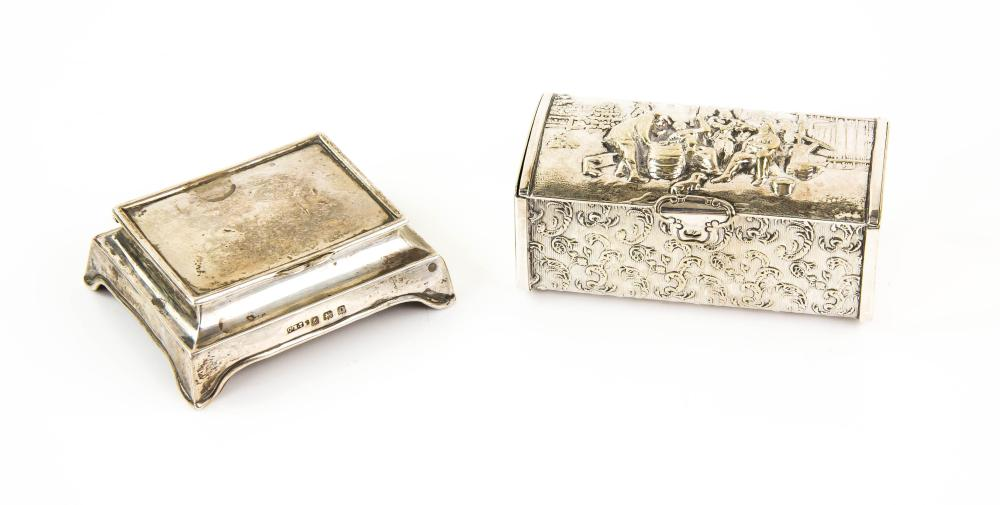 Lot 2030: George VI silver stamp box with hinged cover on br