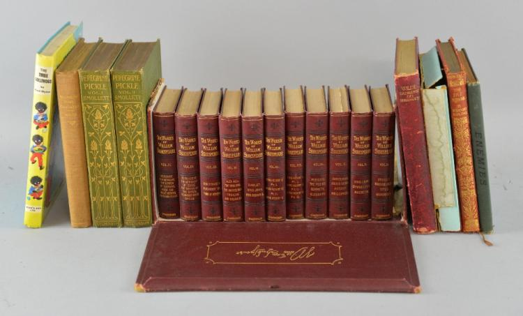 The Works of William Shakspeare in 11 volumes in fitted case, Ruskin 'Unto This Last' and other books,