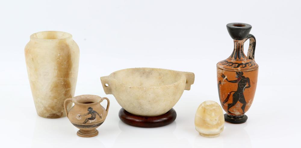 Near Eastern alabaster hemispherical bowl with pie
