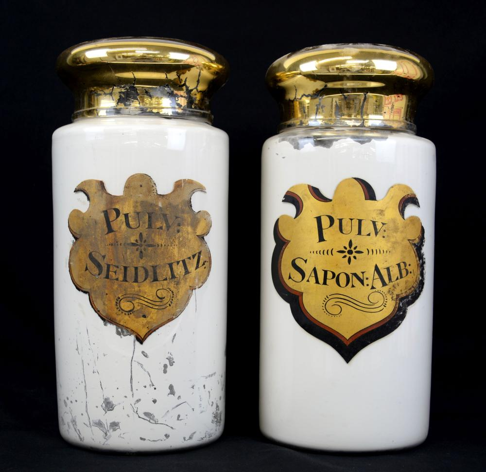 Two 19th century painted glass apothecary jars, 40