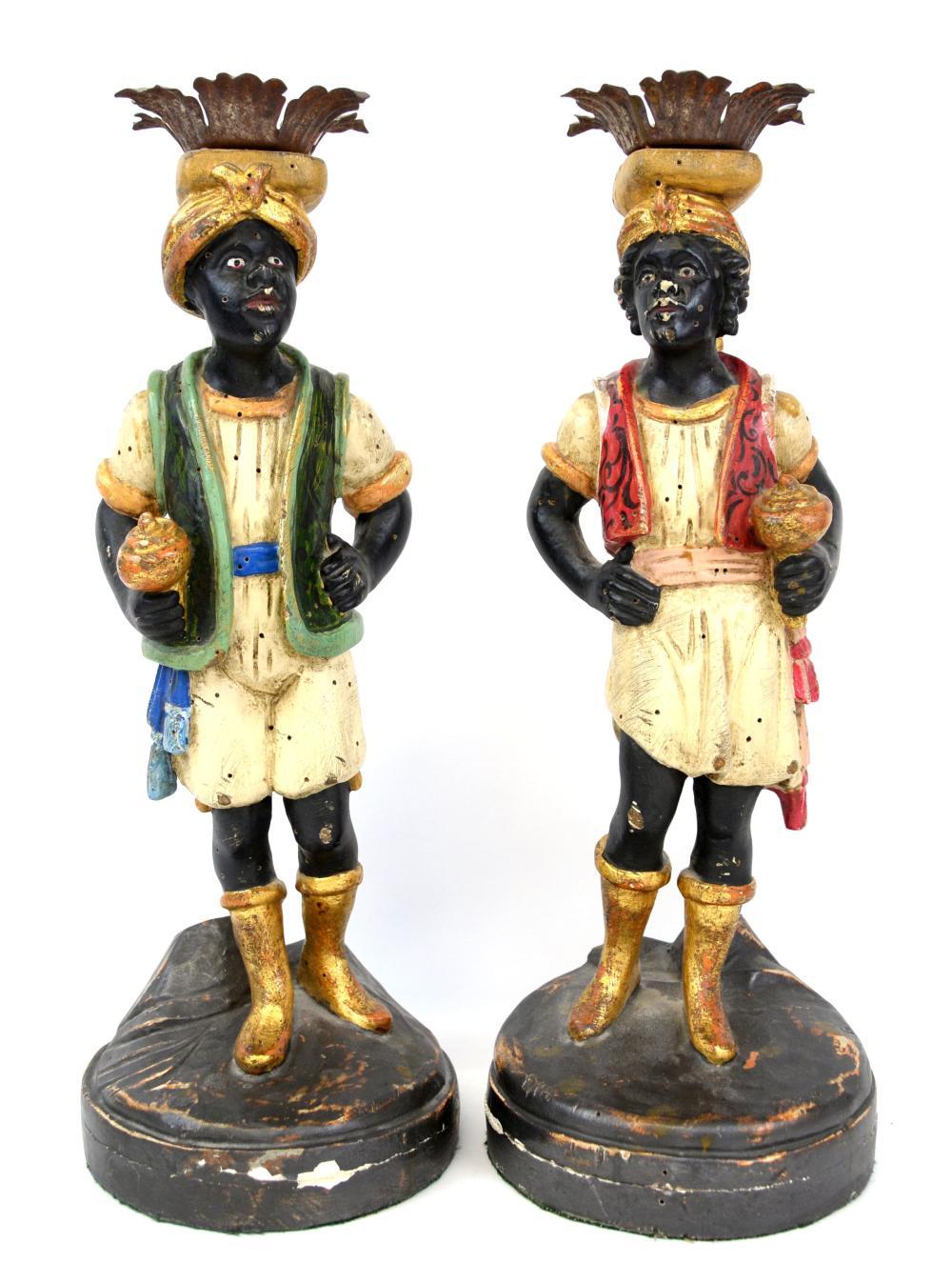 Pair of painted Venetian Blackamoor candlesticks o