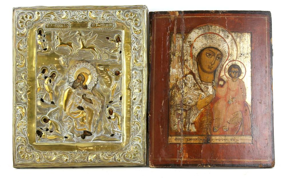 Two Eastern Orthodox Wood Icons: one with metal Ri