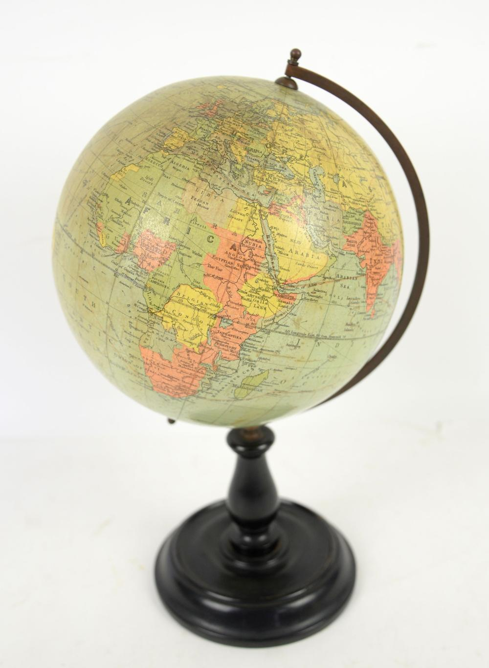 Philips terrestrial globe, on wooden pedestal base
