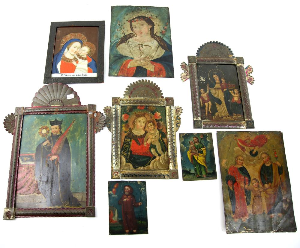 Seven Mexican, or other Spanish Colonial, Folk Art