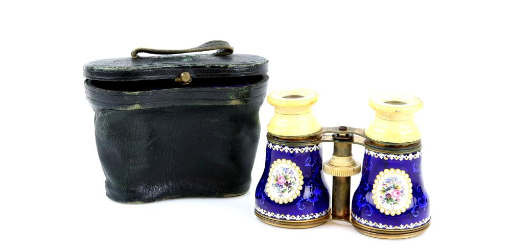 Late 19th century blue enamelled opera glasses wit