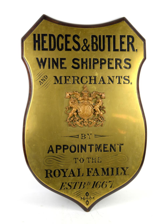 Hedges & Butler wine merchants mahogany and brass