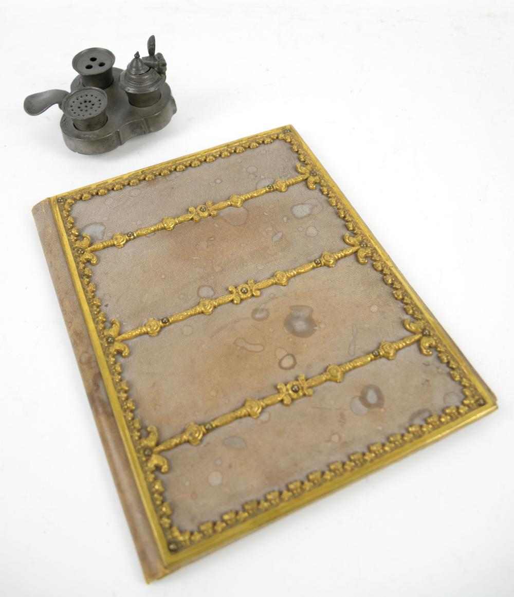 Early 20th century leather and gilt metal mounted