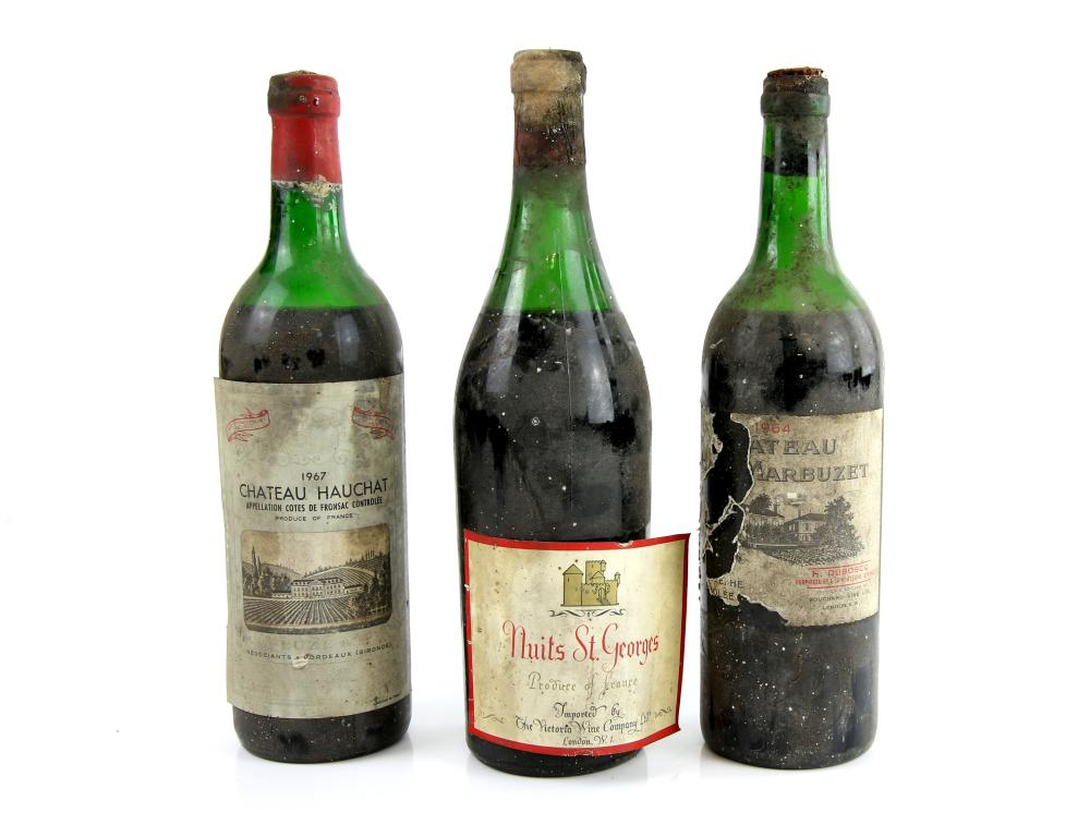 Three bottles of red wine to include a 1967 vintag
