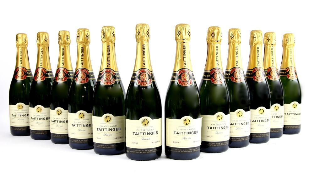 Twelve bottles of Taittinger Brut Champagne, 75cl.