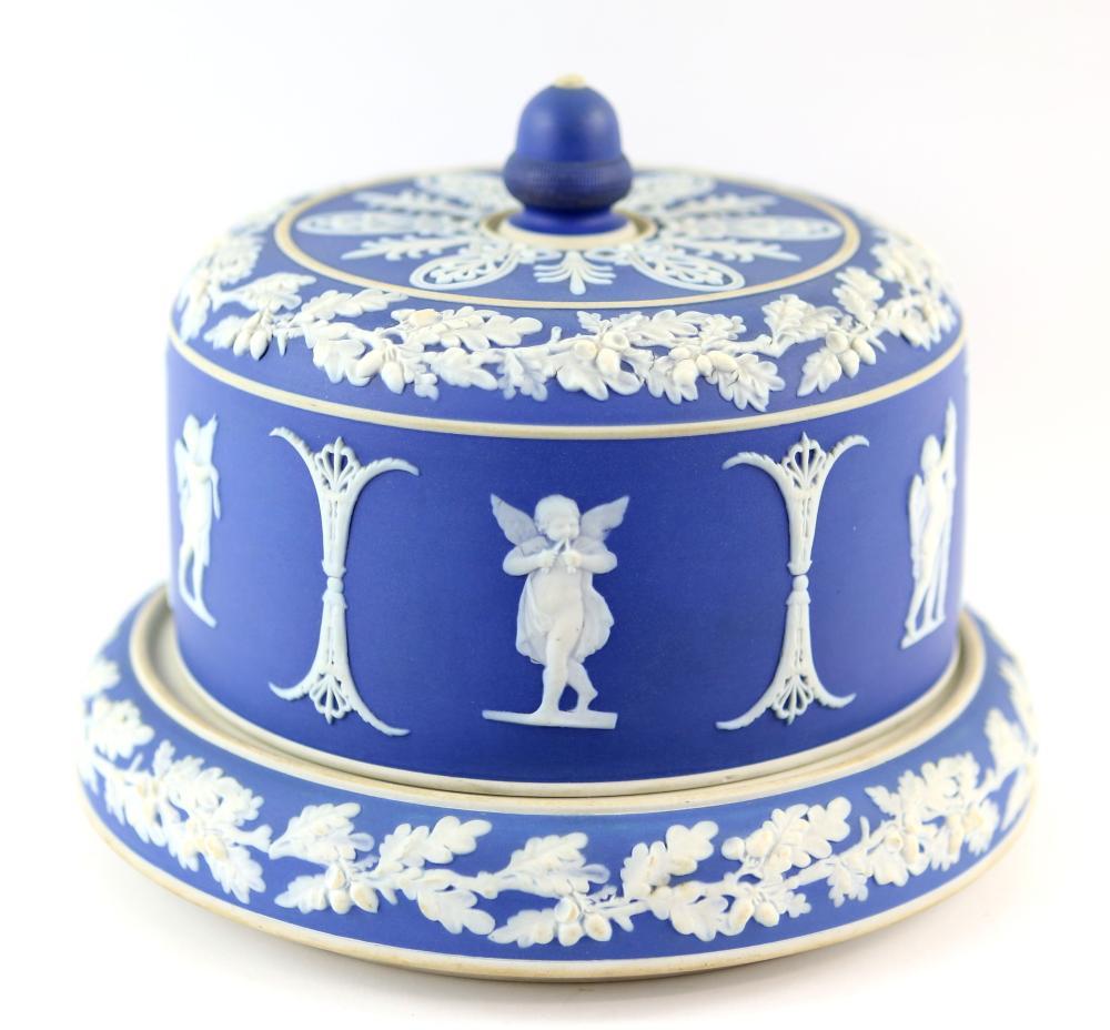 19th century blue jasperware round cheese dish and