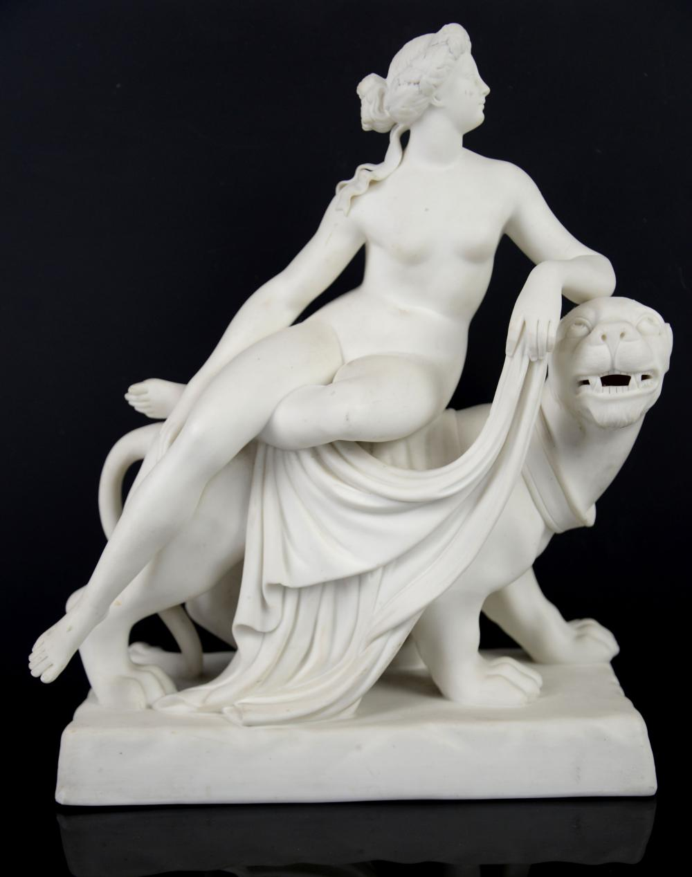 Minton parianware figural group of Ariadne on a pa