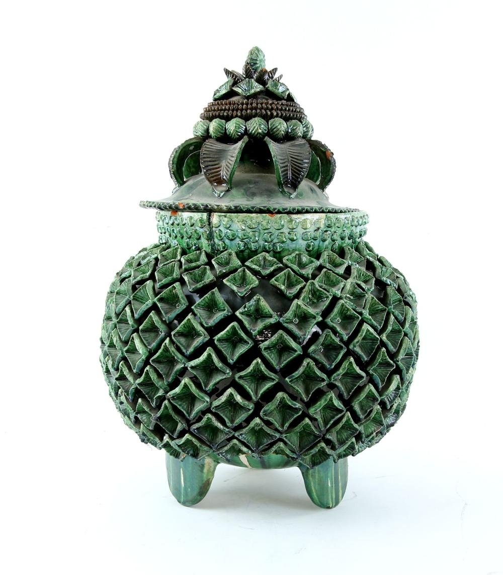 Large green pottery bowl and cover, with applied f