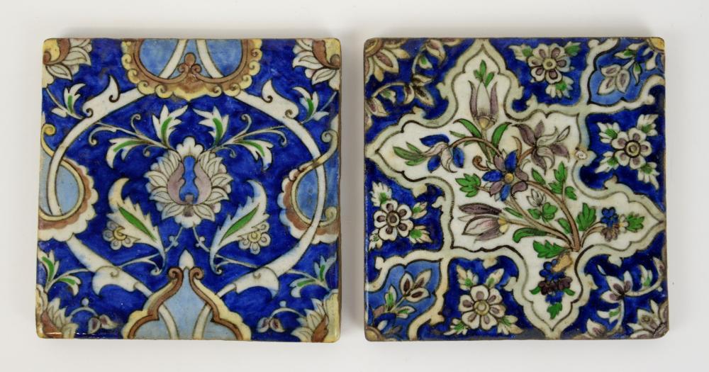 Two Iznik style tiles with scrolling foliage decor