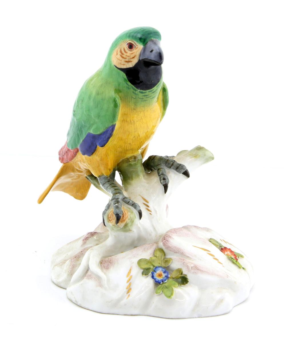 Meissen porcelain model of a parrot with predomina