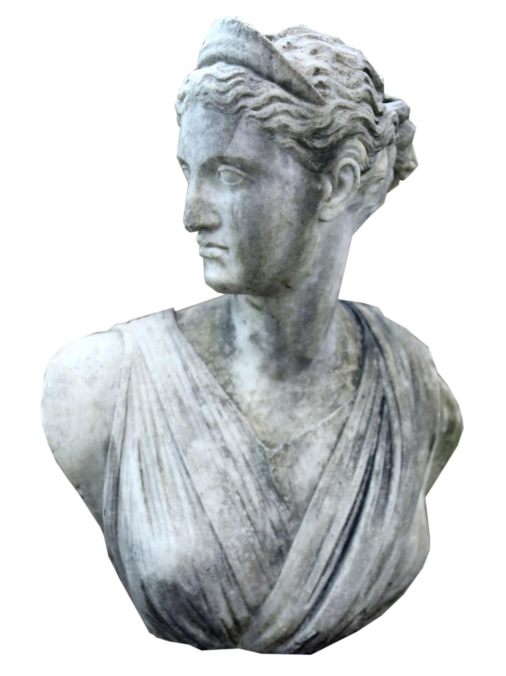 19th century carved marble bust of a woman in Roma