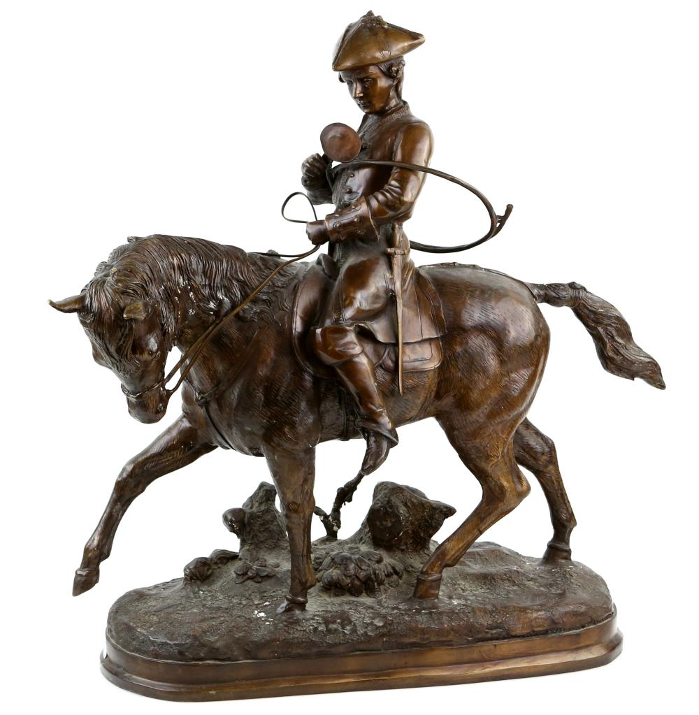 Early 20th century cast metal bronze of a hunter o