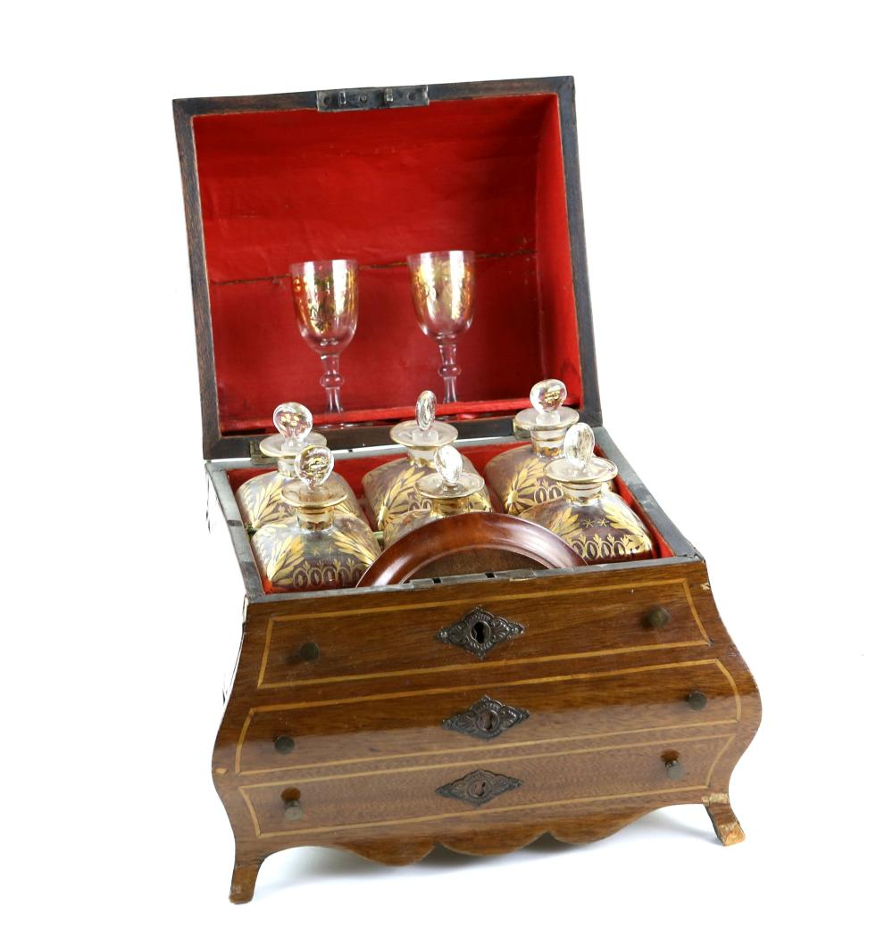 19th century Continental mahogany and marquetry in