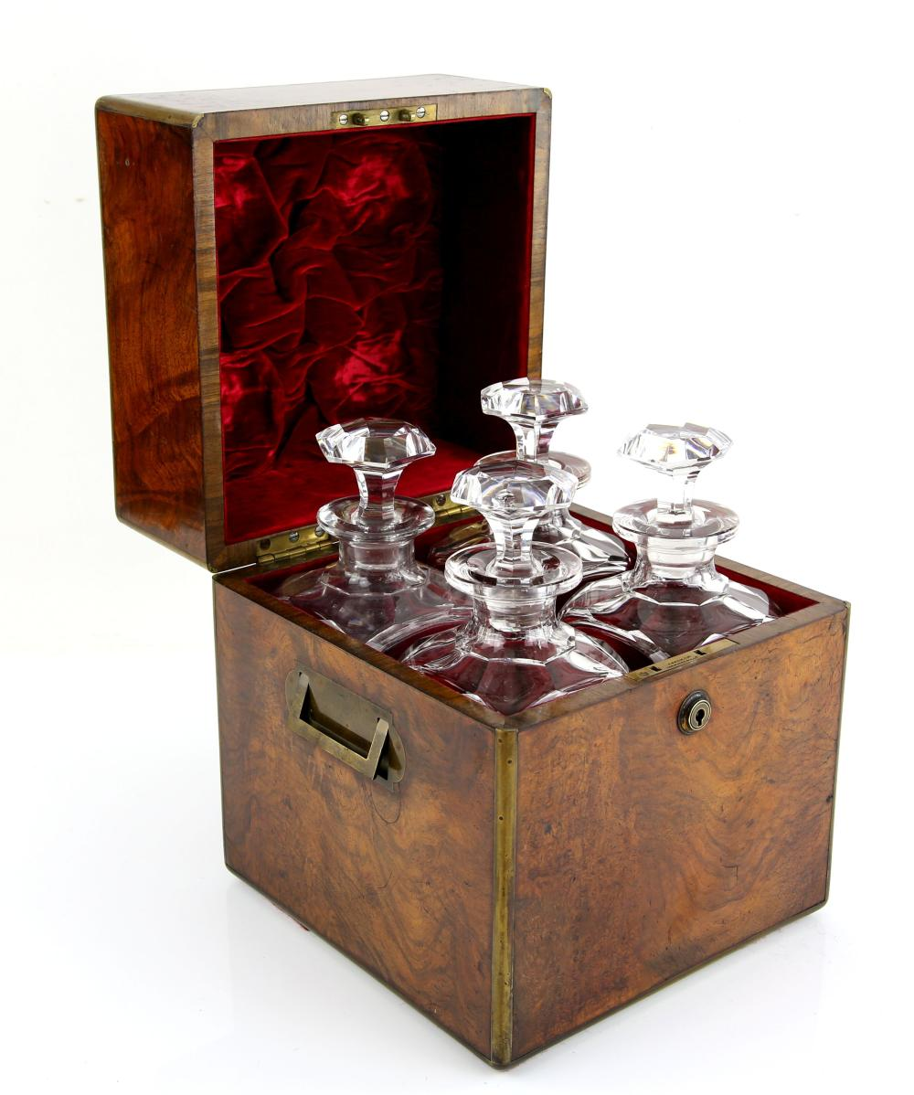 Victorian four bottle, figured walnut decanter box
