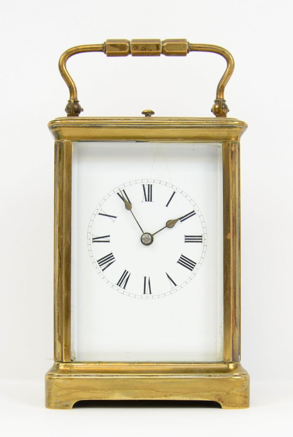 Brass and glass repeating carriage clock, enamel d