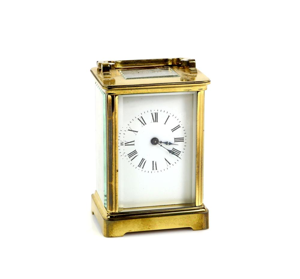 20th century French brass carriage clock with leve