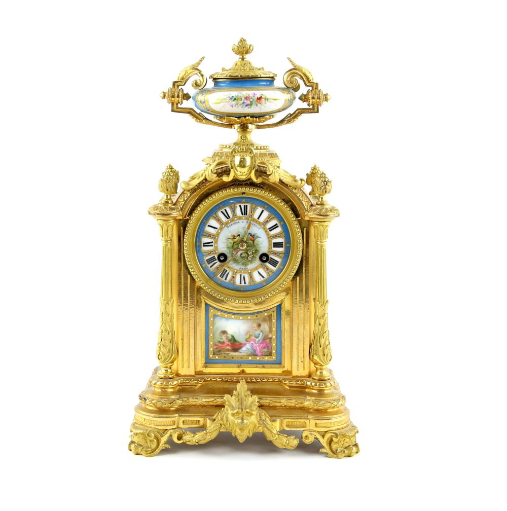 19th century French gilt metal two train eight day